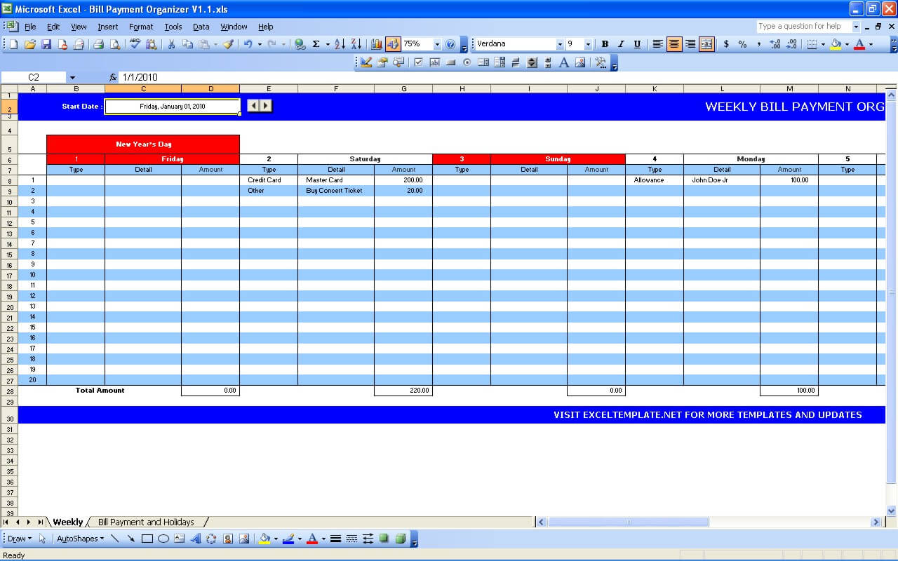Blank Bill Payment Organizer Template Excel And Bill Payment Organizer Template Excel In Excel