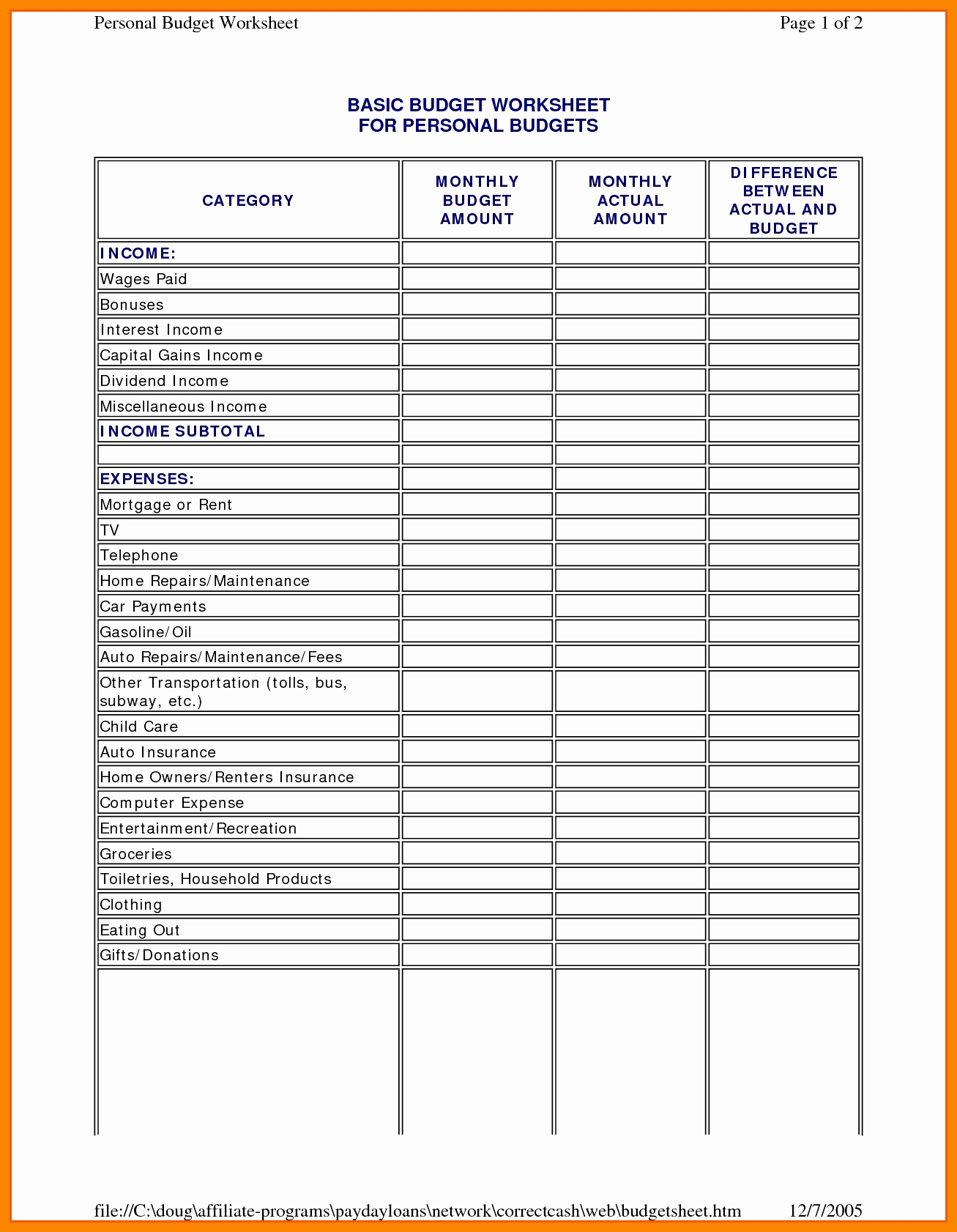 Blank Capital Expenditure Budget Template Excel In Capital Expenditure Budget Template Excel For Google Sheet