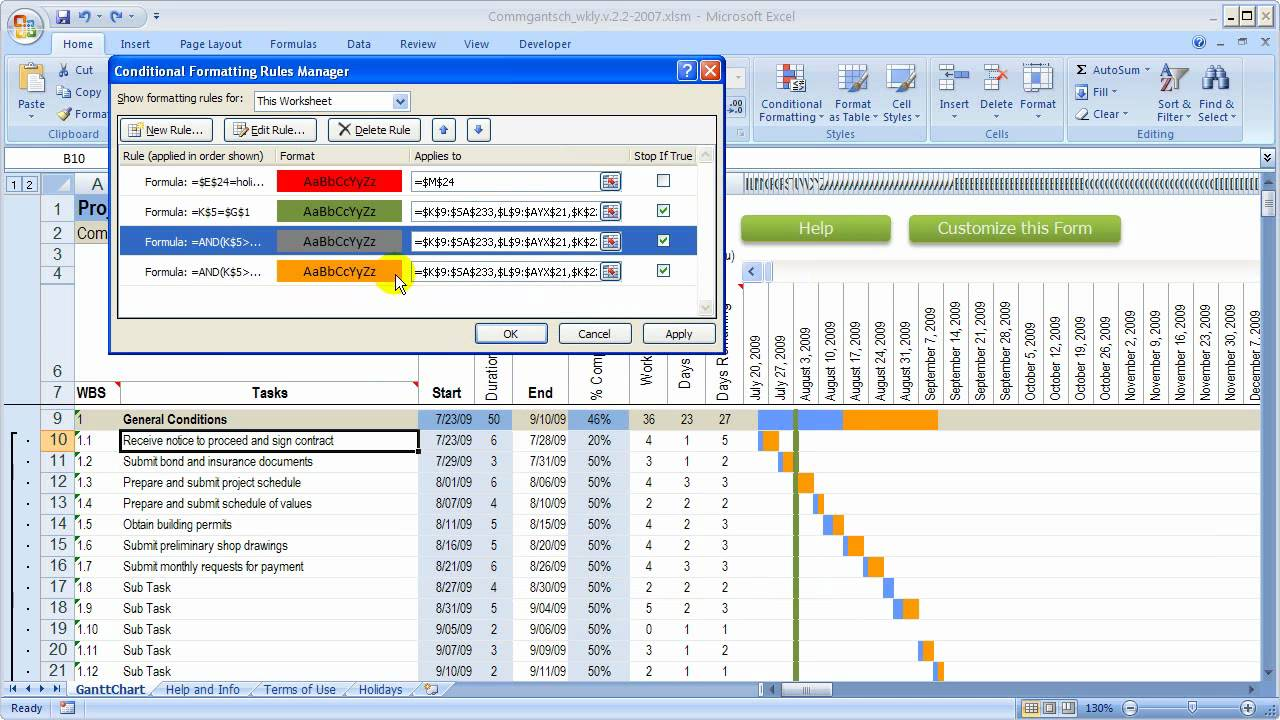 Blank Excel Gantt Chart With Conditional Formatting Throughout Excel Gantt Chart With Conditional Formatting In Spreadsheet
