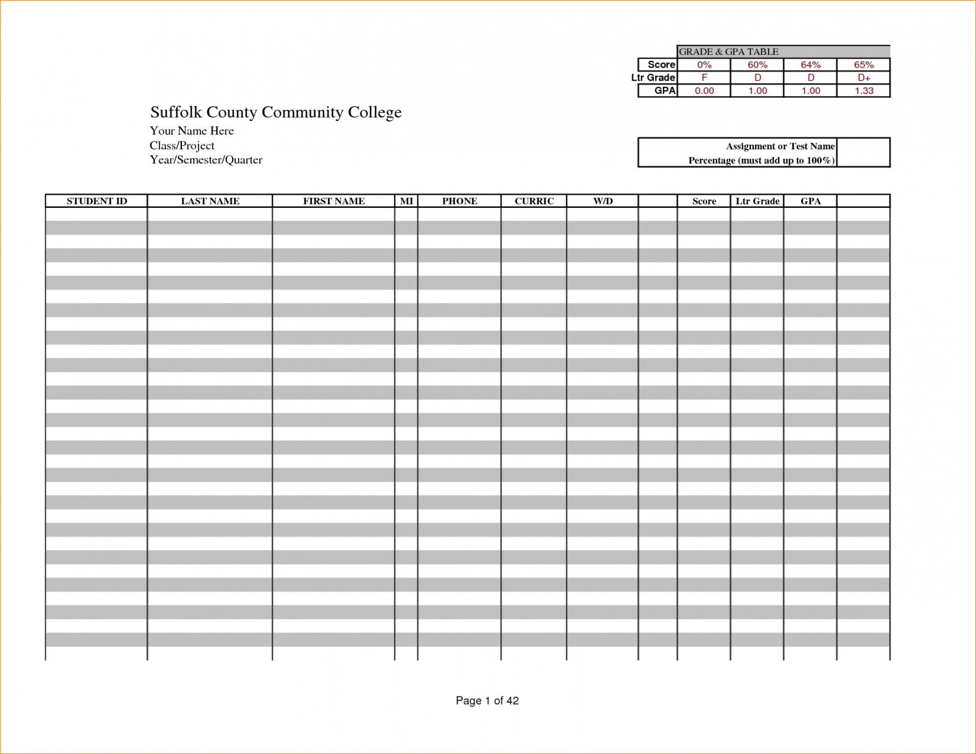 Blank Excel Gradebook Template Inside Excel Gradebook Template Free Download