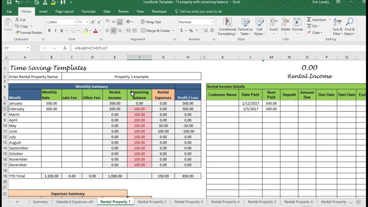 Blank Excel Rental Template And Excel Rental Template In Excel