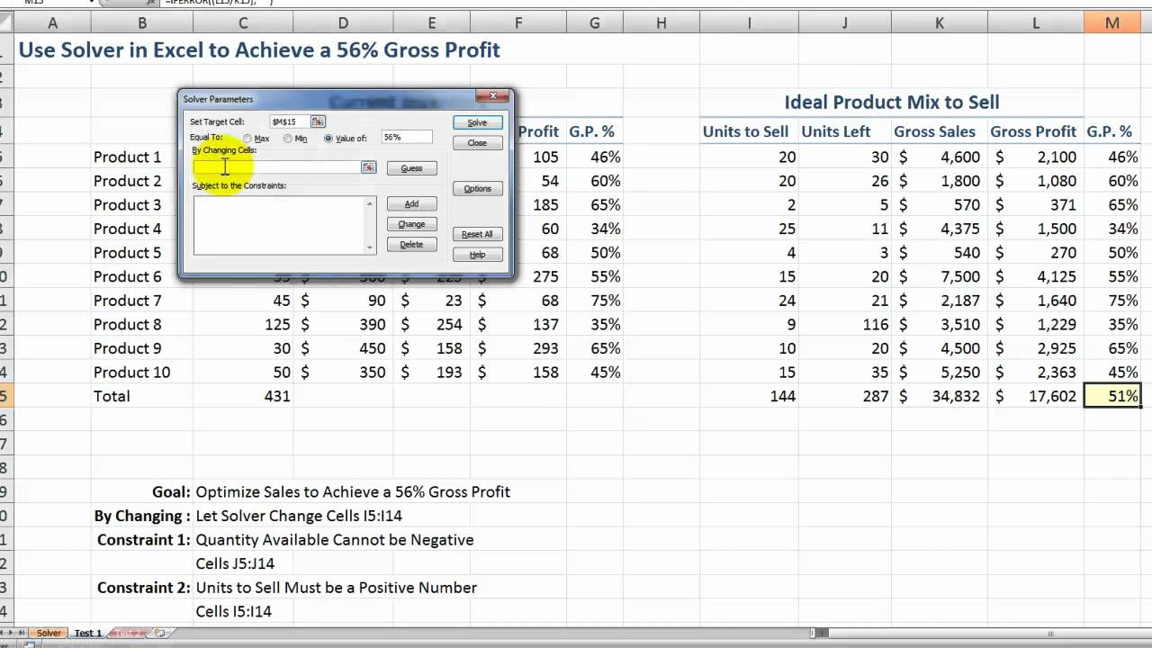 Blank Excel Solver Example Inside Excel Solver Example Letter