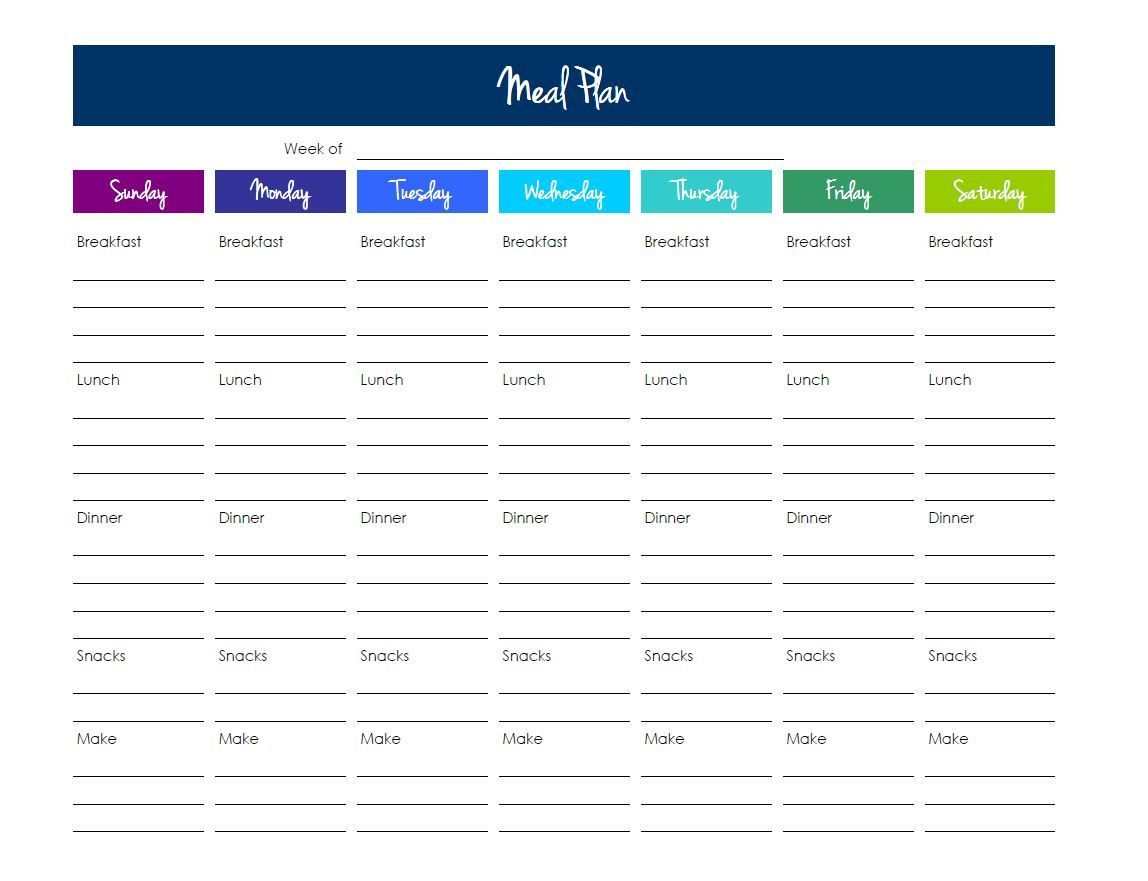 Blank Meal Plan Template Excel Throughout Meal Plan Template Excel Format