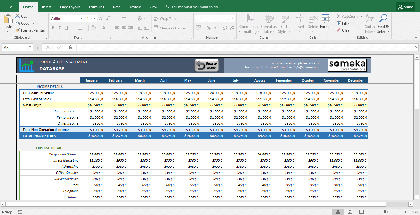 Blank Profit And Loss Statement Template Excel Within Profit And Loss Statement Template Excel For Google Sheet