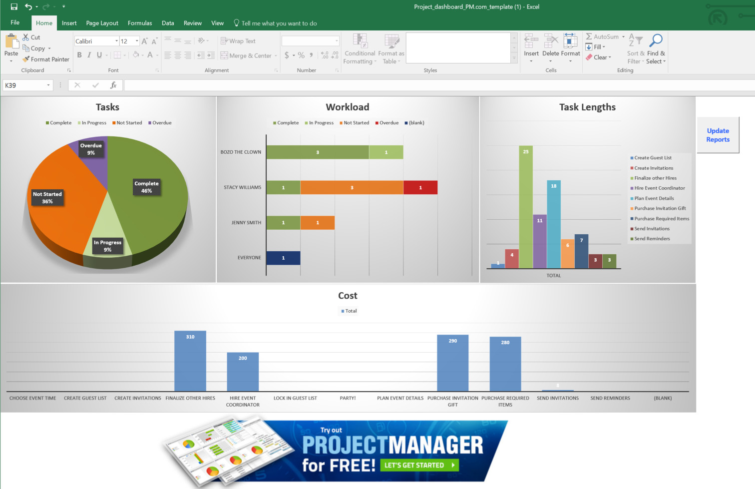 Blank Project Dashboard Template Excel Free In Project Dashboard Template Excel Free Free Download