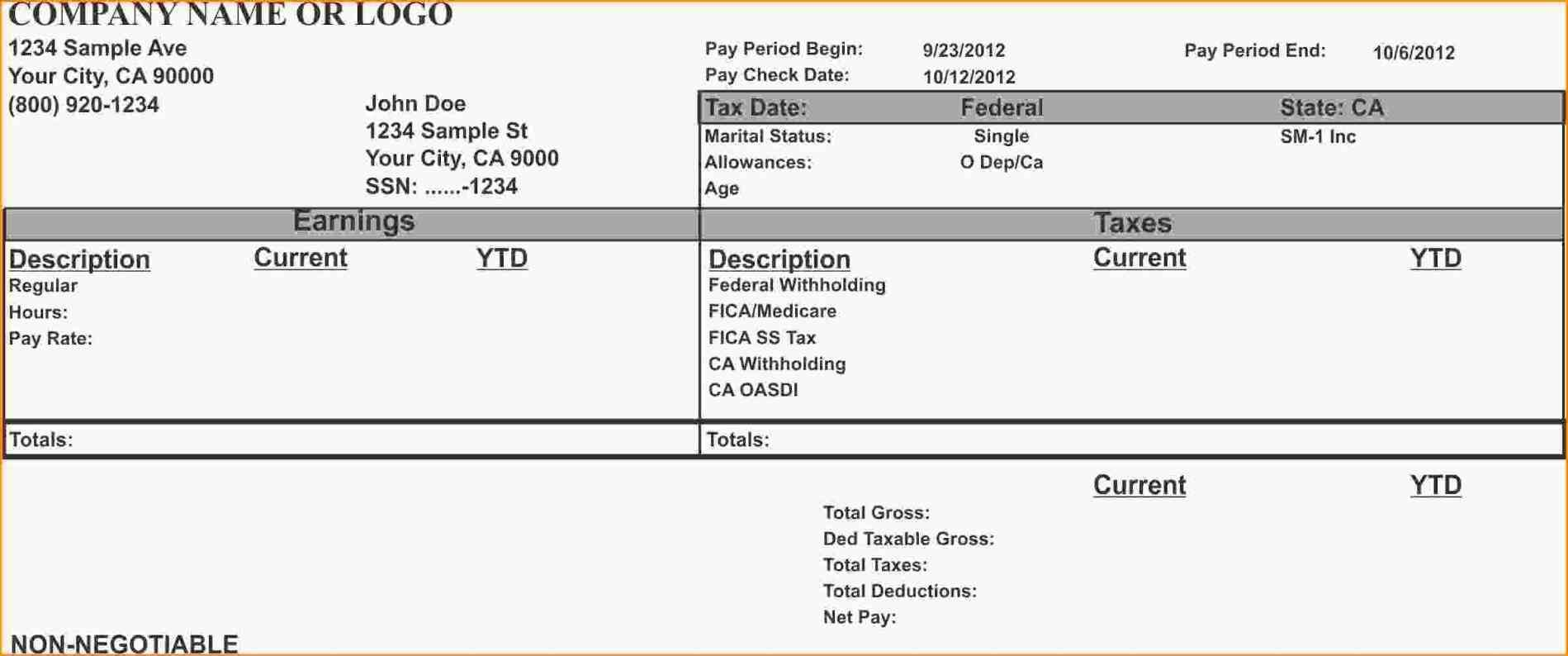 Document Of 1099 Pay Stub Template Excel For 1099 Pay Stub Template Excel Example