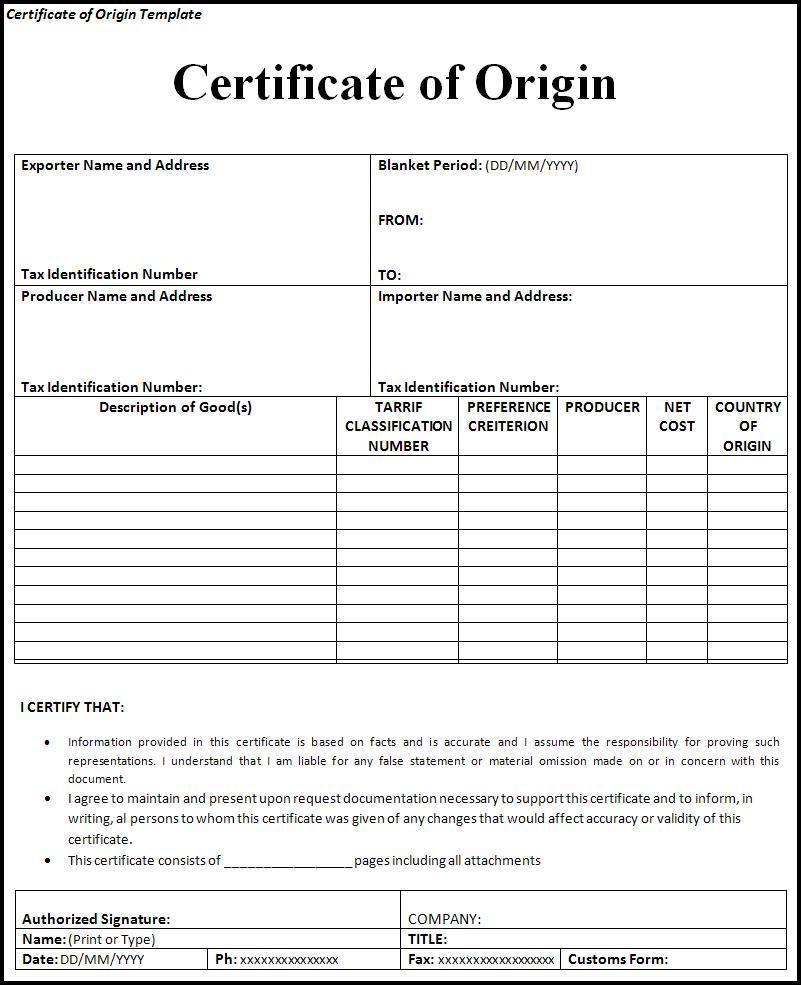 Document Of Certificate Of Origin Template Excel Within Certificate Of Origin Template Excel Format