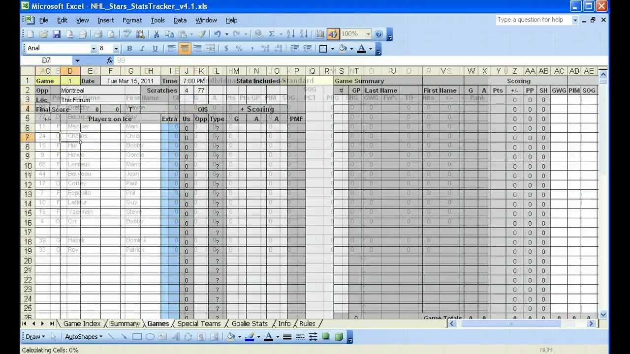 Document Of Hockey Player Stats Excel Template With Hockey Player Stats Excel Template Free Download