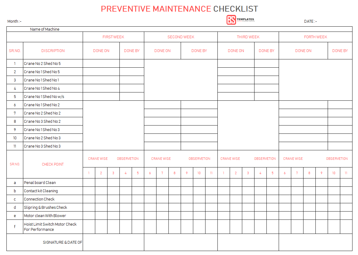 Document Of Machine Maintenance Schedule Excel Template To Machine Maintenance Schedule Excel Template For Personal Use