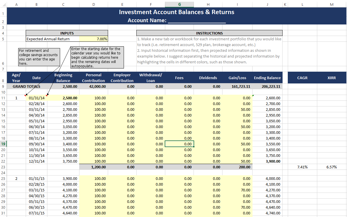 Document Of Money Weighted Return Excel Template Inside Money Weighted Return Excel Template Format
