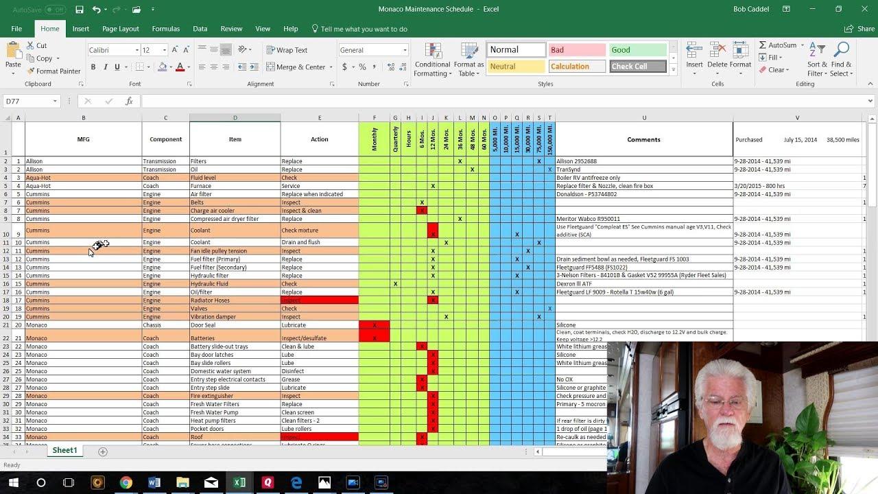 Document Of RV Maintenance Spreadsheet Inside RV Maintenance Spreadsheet Xlsx