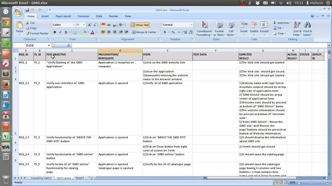 Document Of Test Plan Template Excel In Test Plan Template Excel Xls