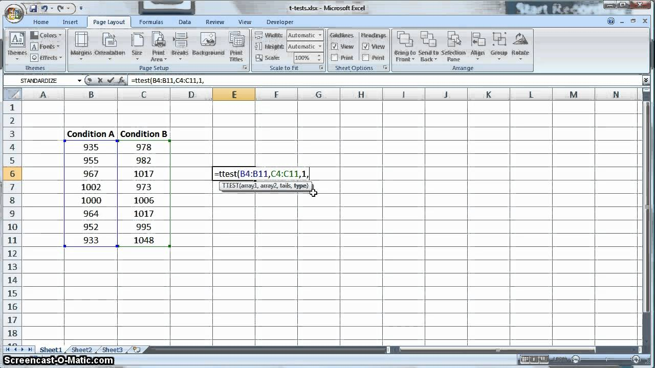 Document Of Two Sample T Test Excel Throughout Two Sample T Test Excel In Spreadsheet