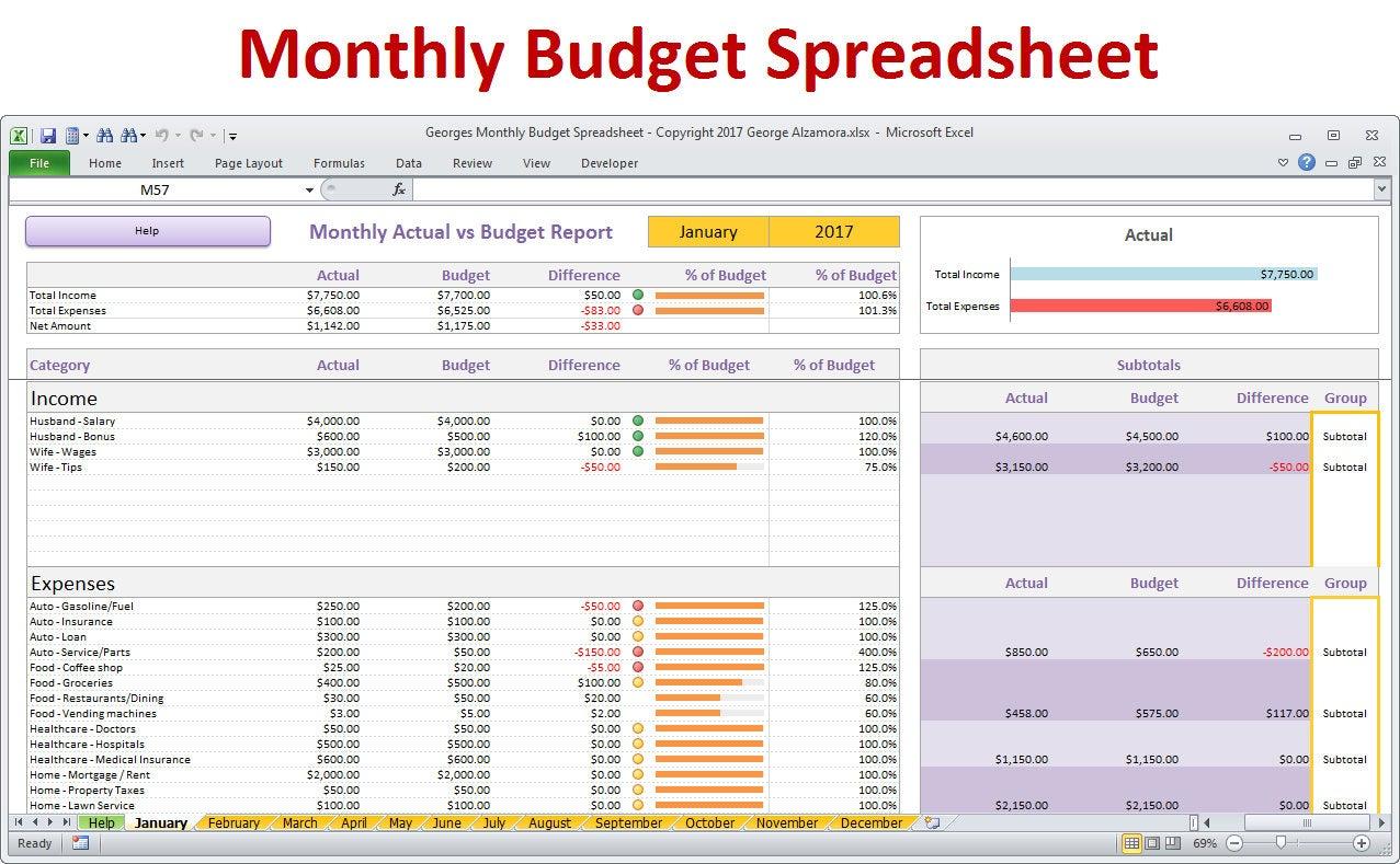50 30 20 Budget Excel Template — excelguider.com