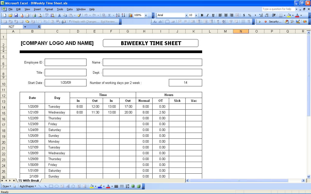 Documents Of Excel Biweekly Timesheet Template With Formulas With Excel Biweekly Timesheet Template With Formulas Template