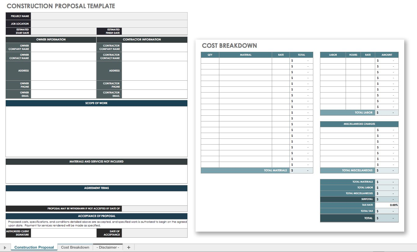 Documents Of Excel Proposal Template To Excel Proposal Template For Google Sheet