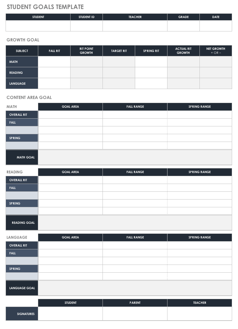 Documents Of Goals Template Excel In Goals Template Excel Letters