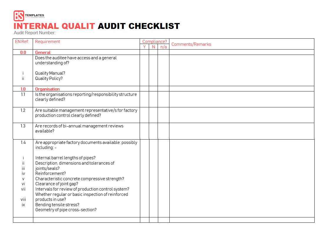 Documents Of Internal Audit Report Format In Excel For Internal Audit Report Format In Excel Form