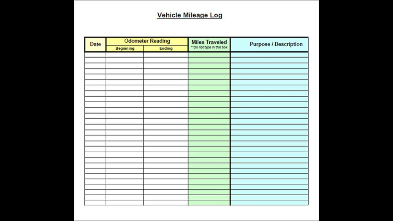 Documents Of Mileage Log Template Excel Throughout Mileage Log Template Excel In Spreadsheet