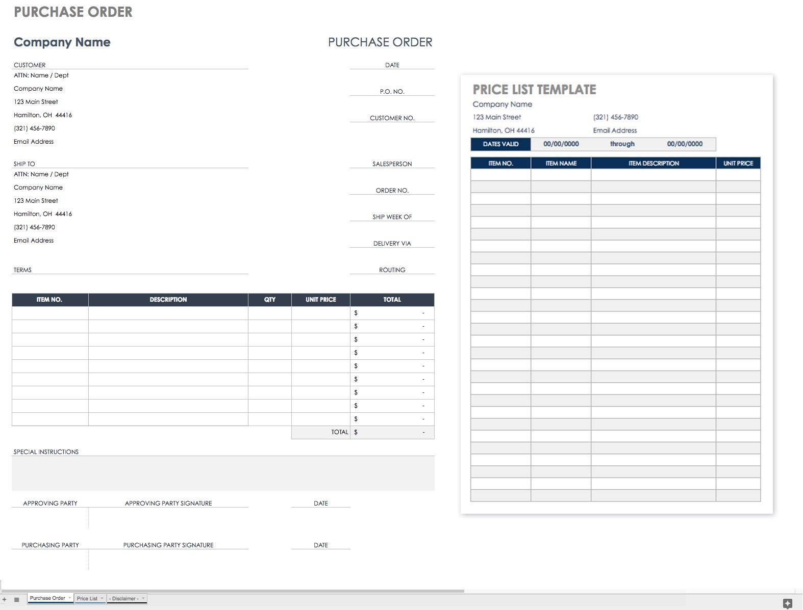 Documents Of Simple Purchase Order Template Excel With Simple Purchase Order Template Excel Example