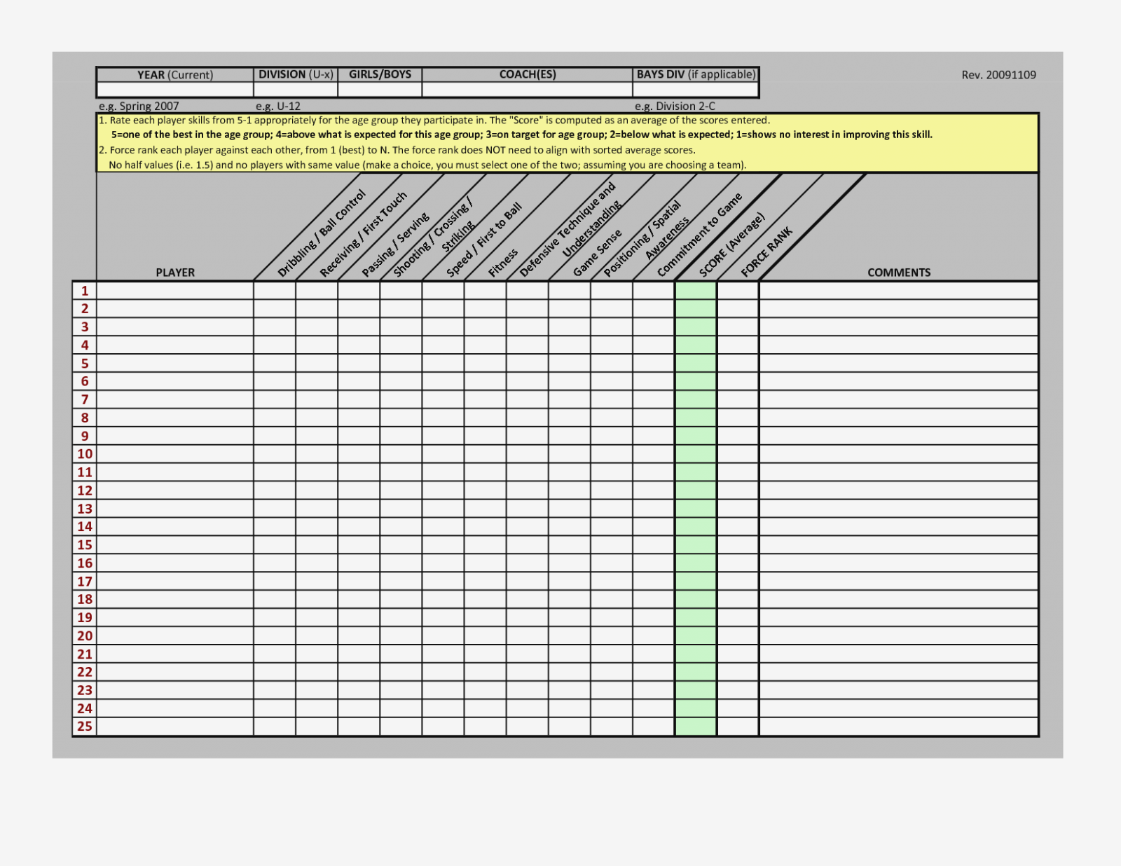 Documents Of Soccer Tryout Evaluation Spreadsheet Intended For Soccer Tryout Evaluation Spreadsheet For Google Spreadsheet