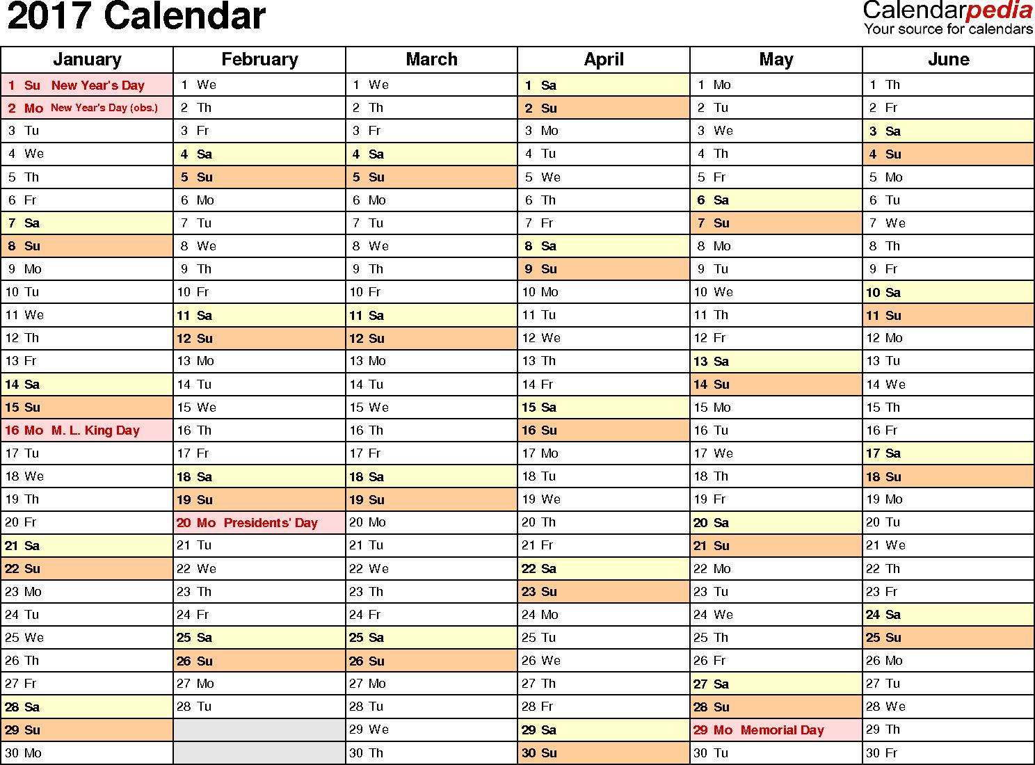 Download 2017 Calendar Template Excel For 2017 Calendar Template Excel Sample