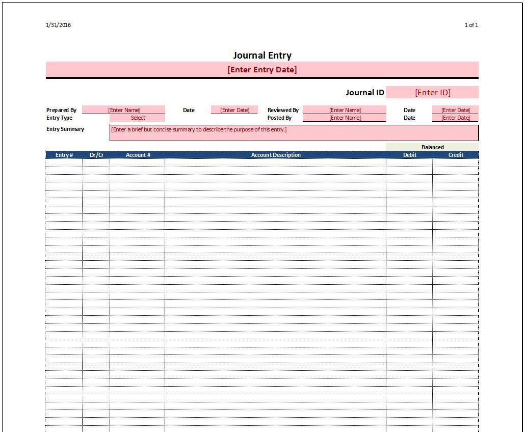 Download Accounting Journal Template Excel For Accounting Journal Template Excel Sample