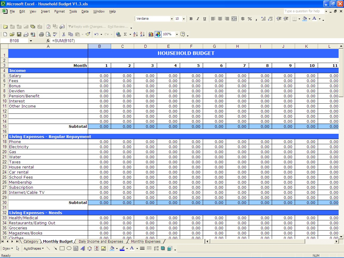 Download Excel Income And Expense Template And Excel Income And Expense Template In Spreadsheet