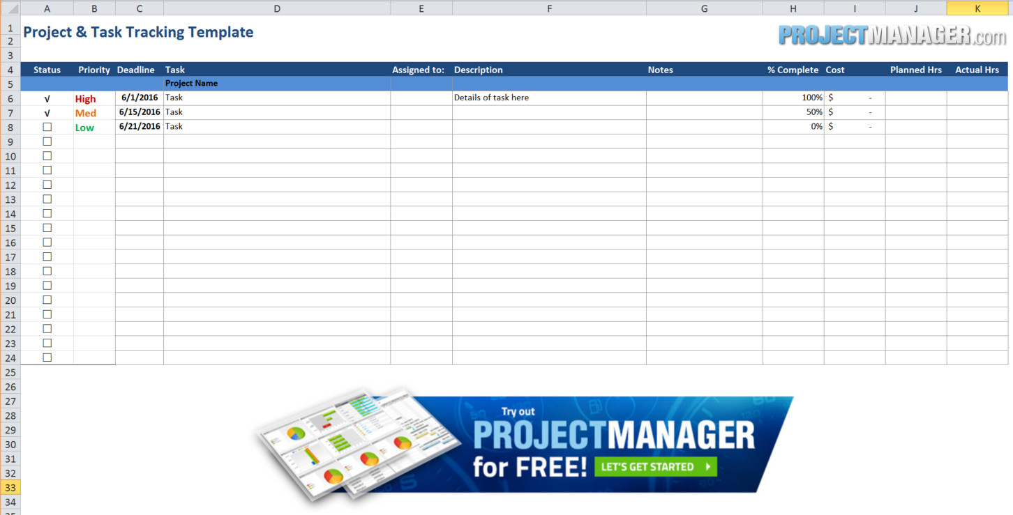 Download Excel Template For Project Tracking To Excel Template For Project Tracking In Spreadsheet