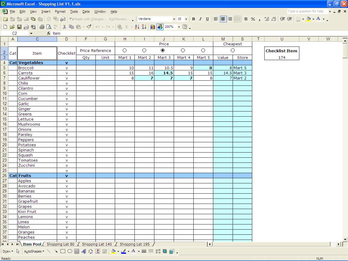 Download Grocery List Template Excel In Grocery List Template Excel In Workshhet