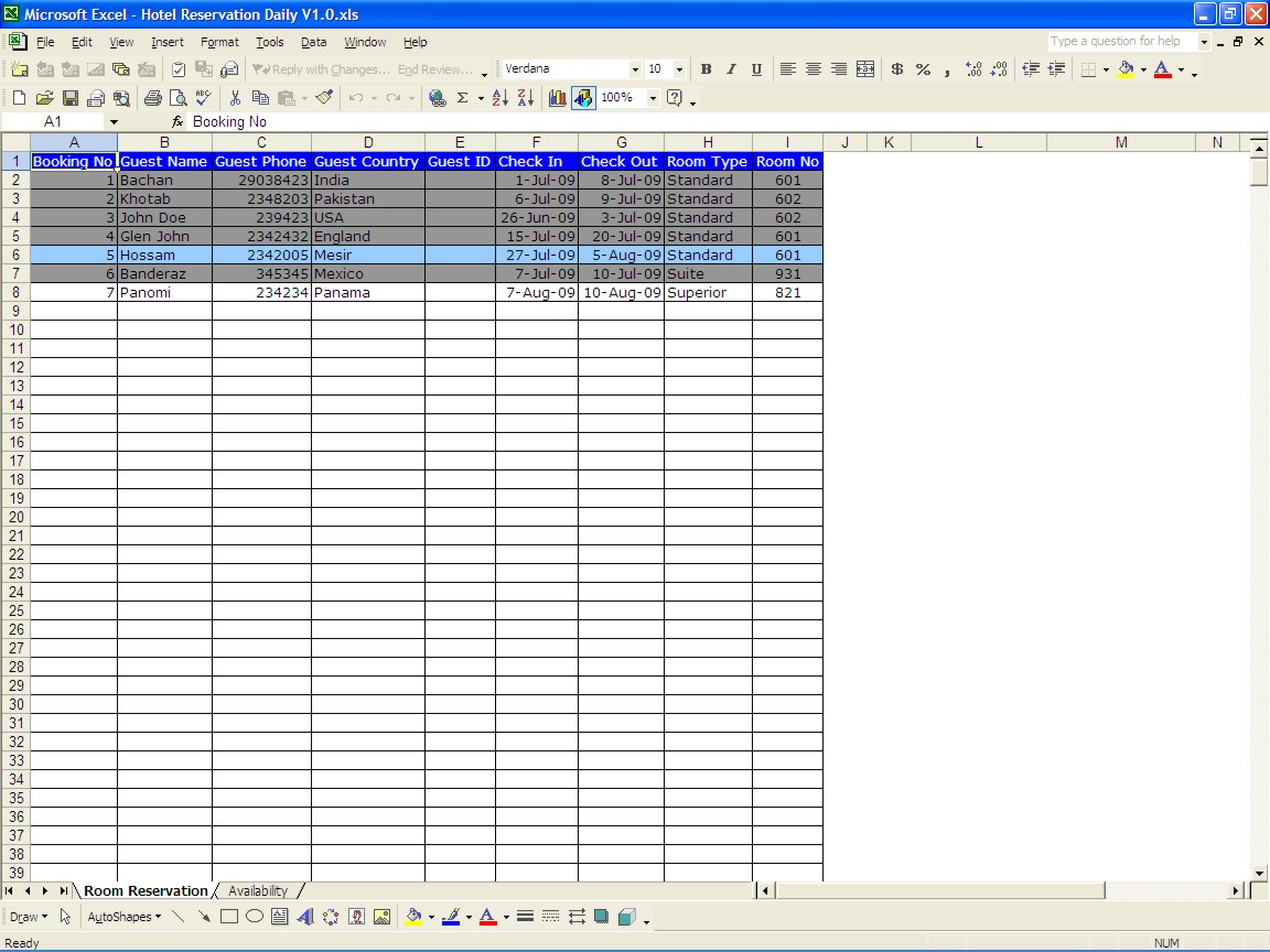 Download Hotel Room Booking Format In Excel To Hotel Room Booking Format In Excel For Personal Use