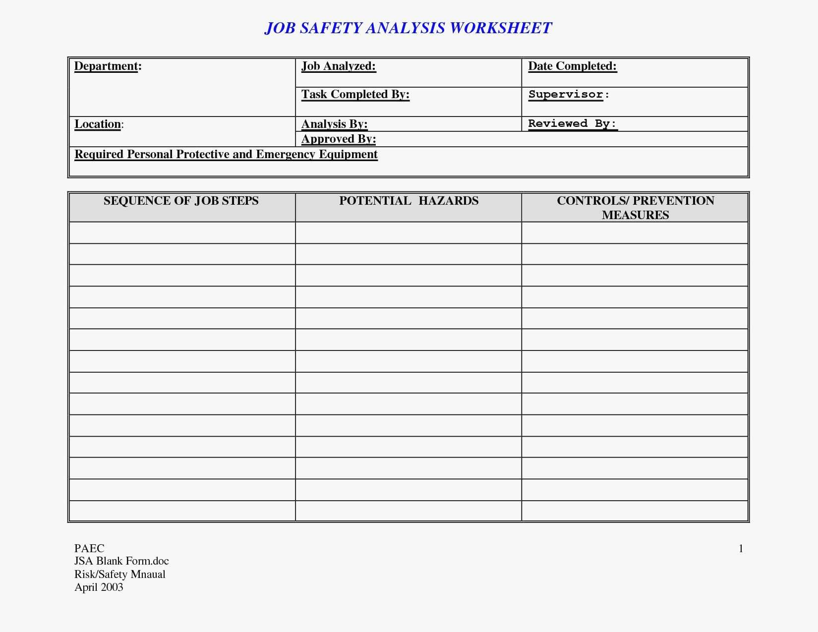 Download Job Hazard Analysis Template Excel Throughout Job Hazard Analysis Template Excel In Workshhet