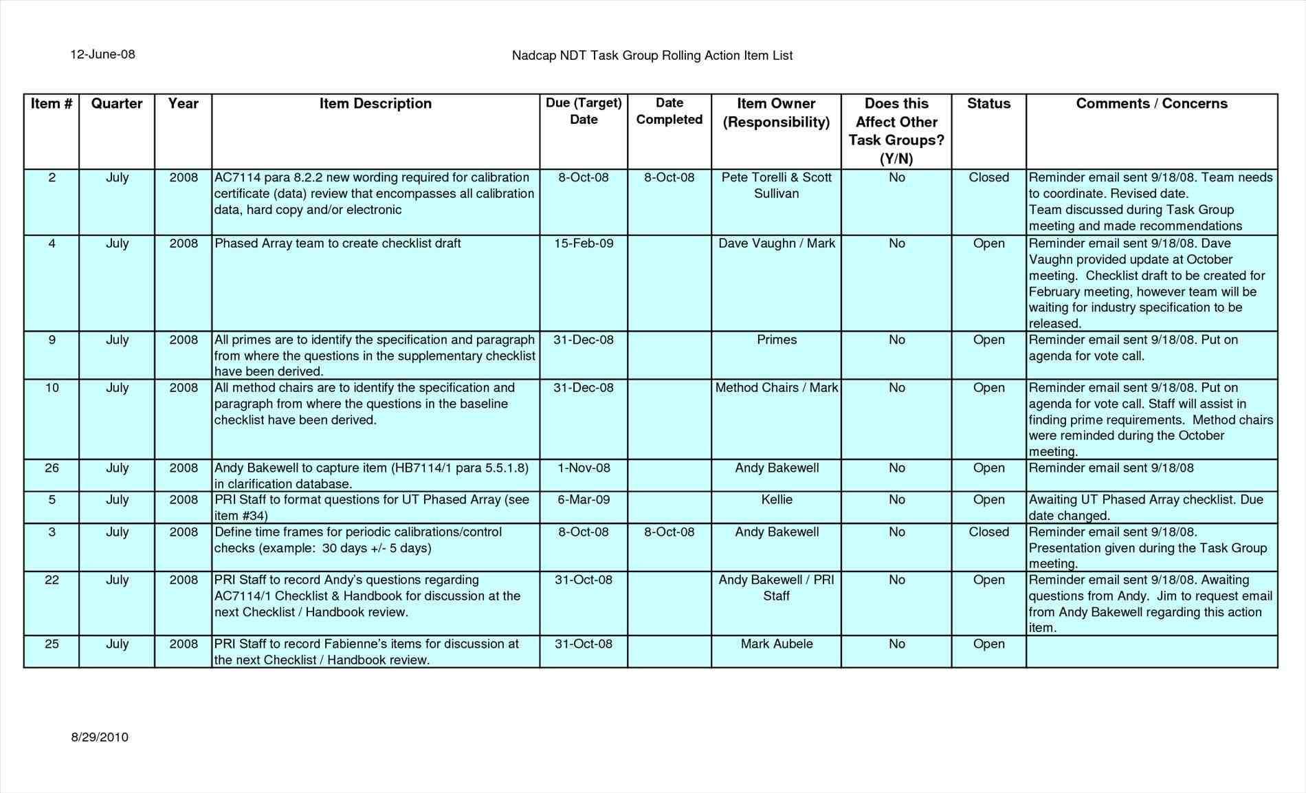 Download Rolling Action Item List Excel Template Throughout Rolling Action Item List Excel Template Letter
