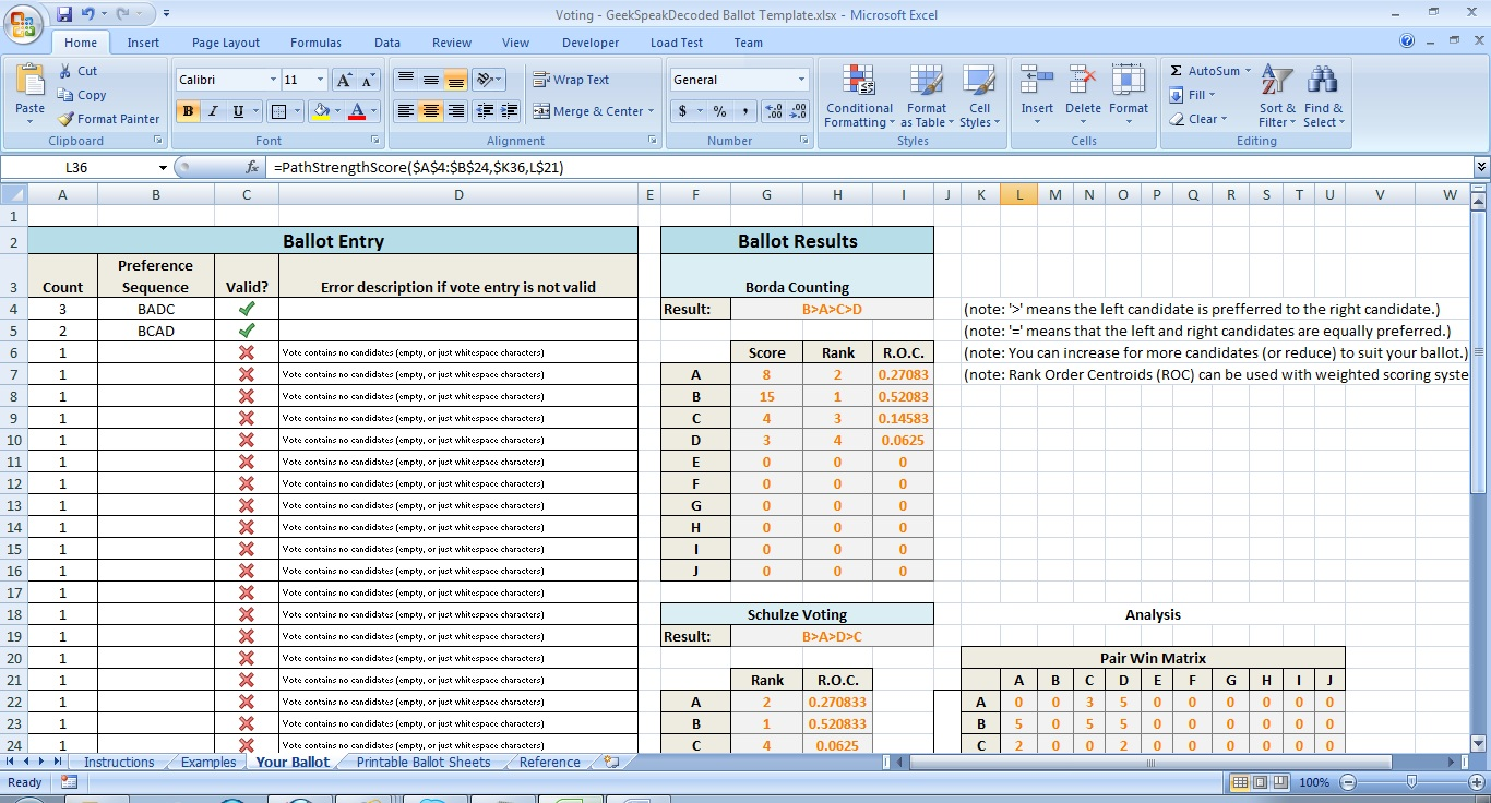 Example Of Ballot Template Excel With Ballot Template Excel For Google Spreadsheet