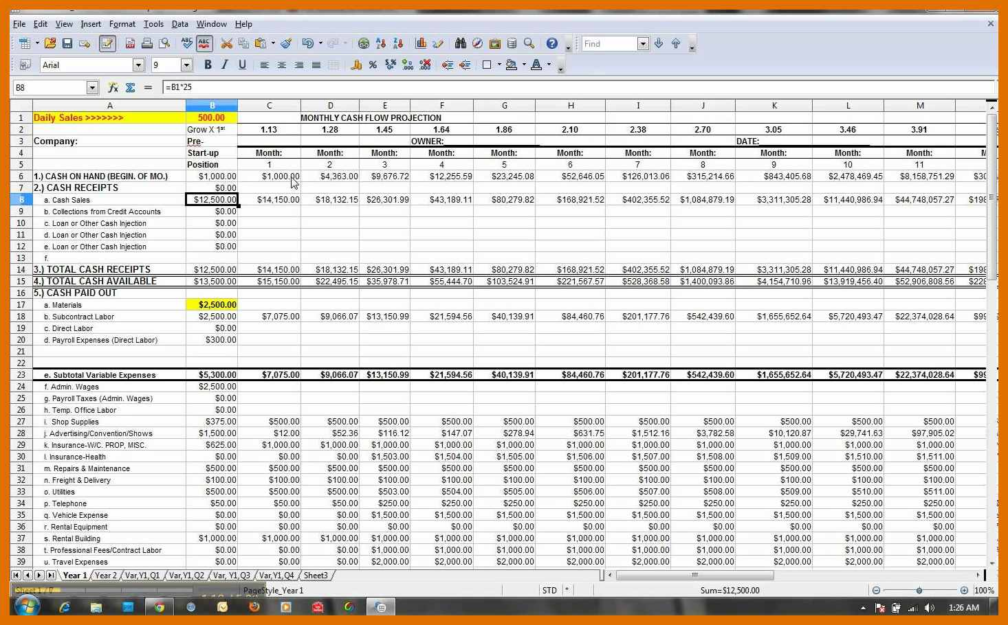 Example Of Cash Flow Forecast Template Excel In Cash Flow Forecast Template Excel Download For Free