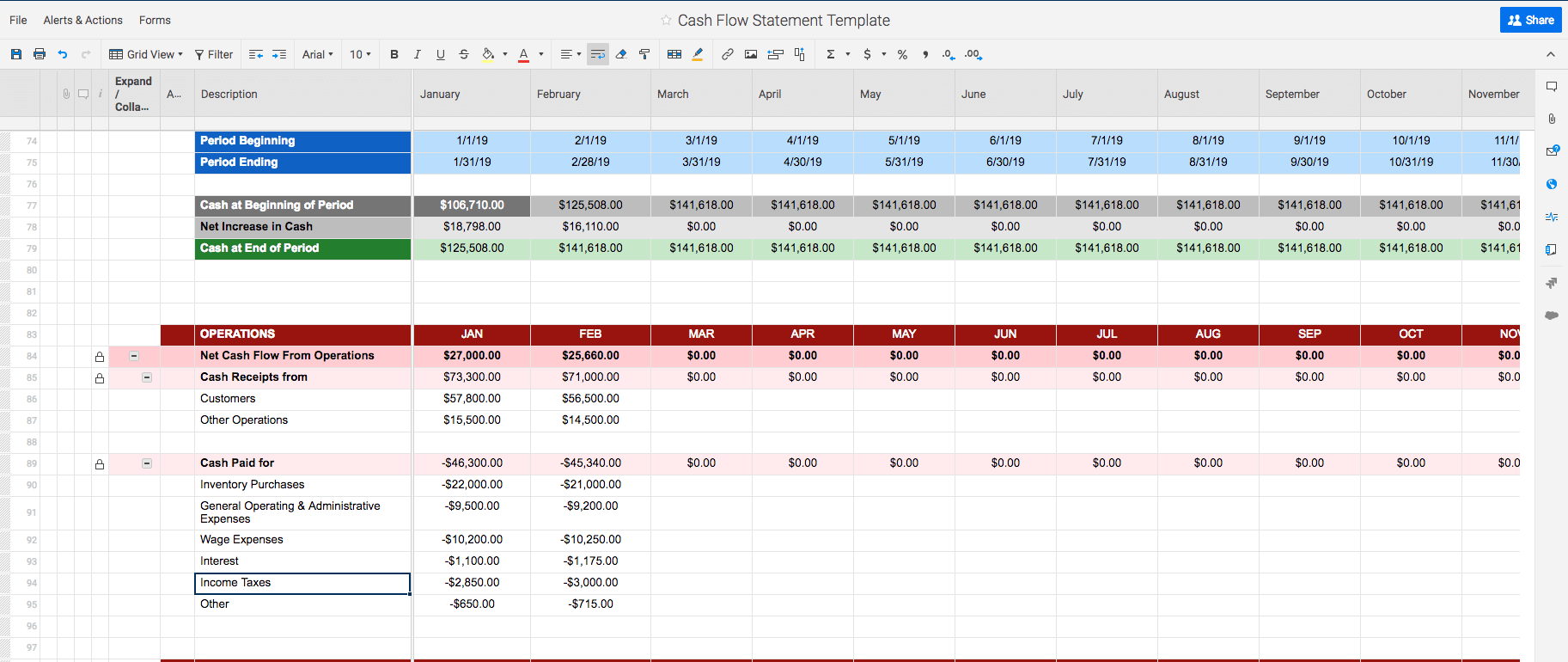 Example Of Cash Flow Forecast Template Excel Throughout Cash Flow Forecast Template Excel For Free