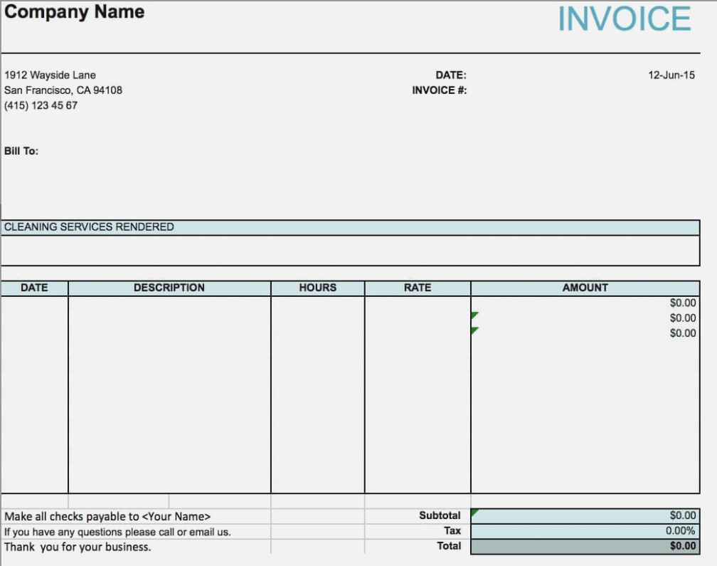 Example Of Cleaning Invoice Template Excel In Cleaning Invoice Template Excel Letter