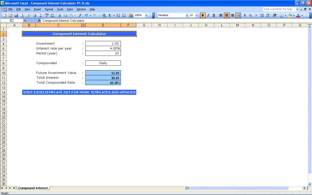 Example Of Compound Interest Excel Template With Compound Interest Excel Template Format
