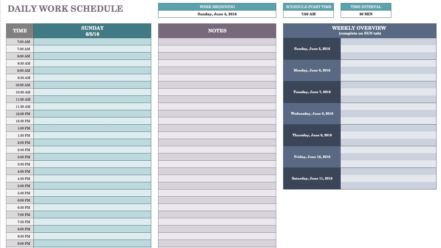 Example Of Daily Schedule Template Excel Inside Daily Schedule Template Excel Examples