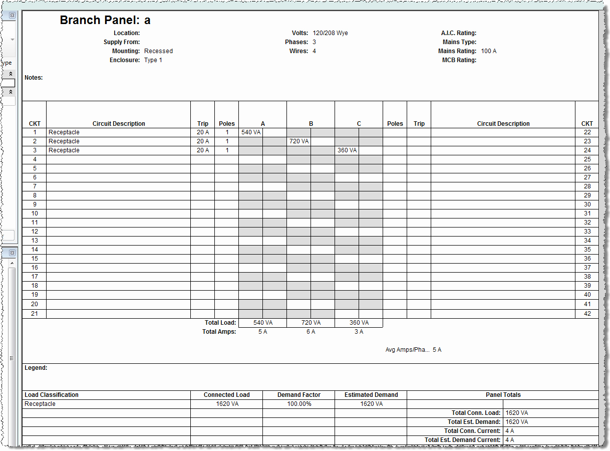 Example Of Electrical Panel Schedule Template Excel In Electrical Panel Schedule Template Excel Letter