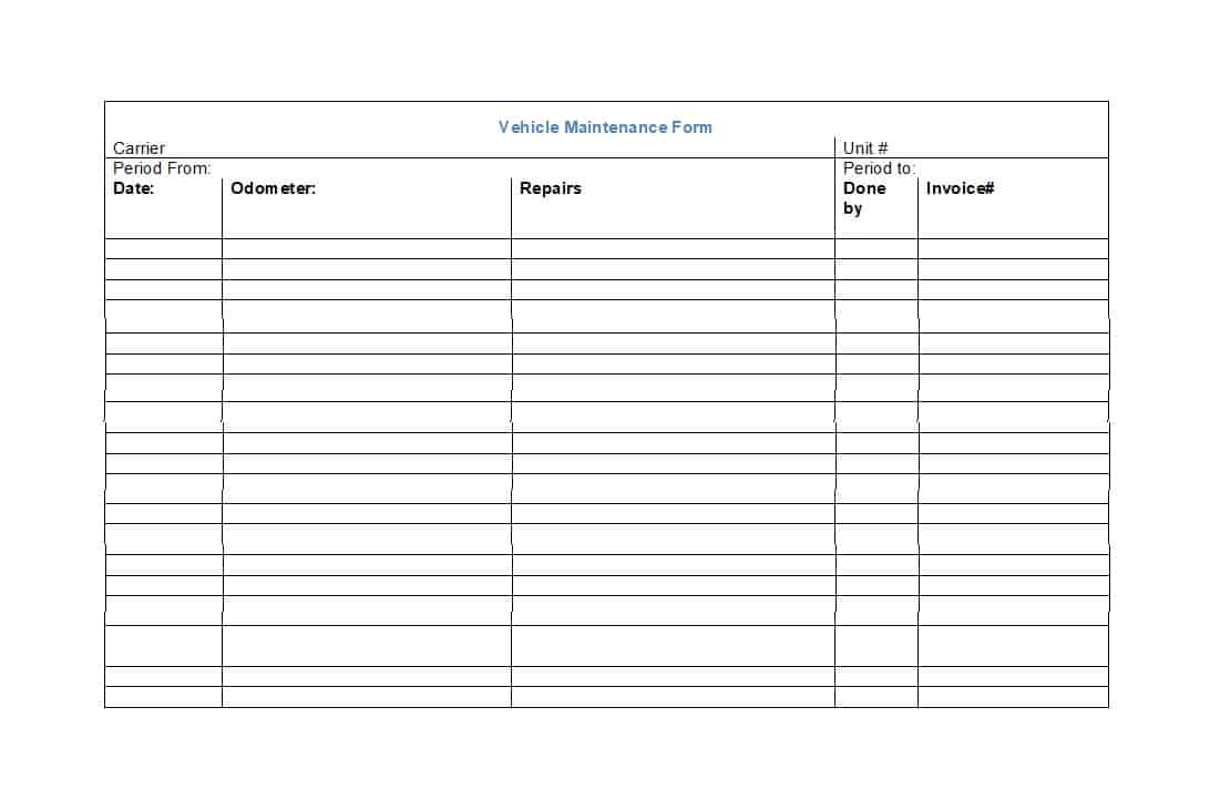 Example Of Equipment Maintenance Log Template Excel For Equipment Maintenance Log Template Excel In Spreadsheet