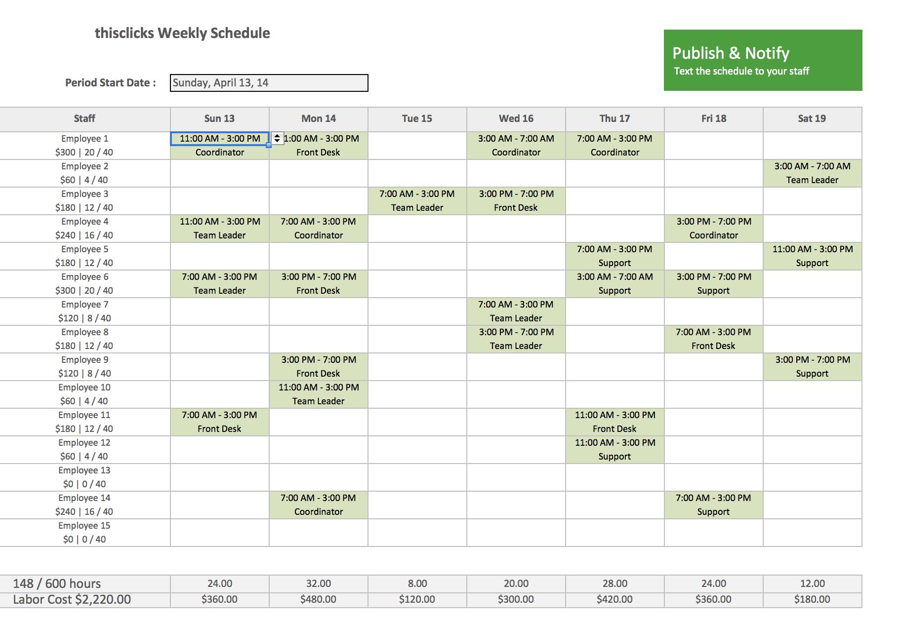 Example Of Excel Employee Schedule Template For Excel Employee Schedule Template Letters