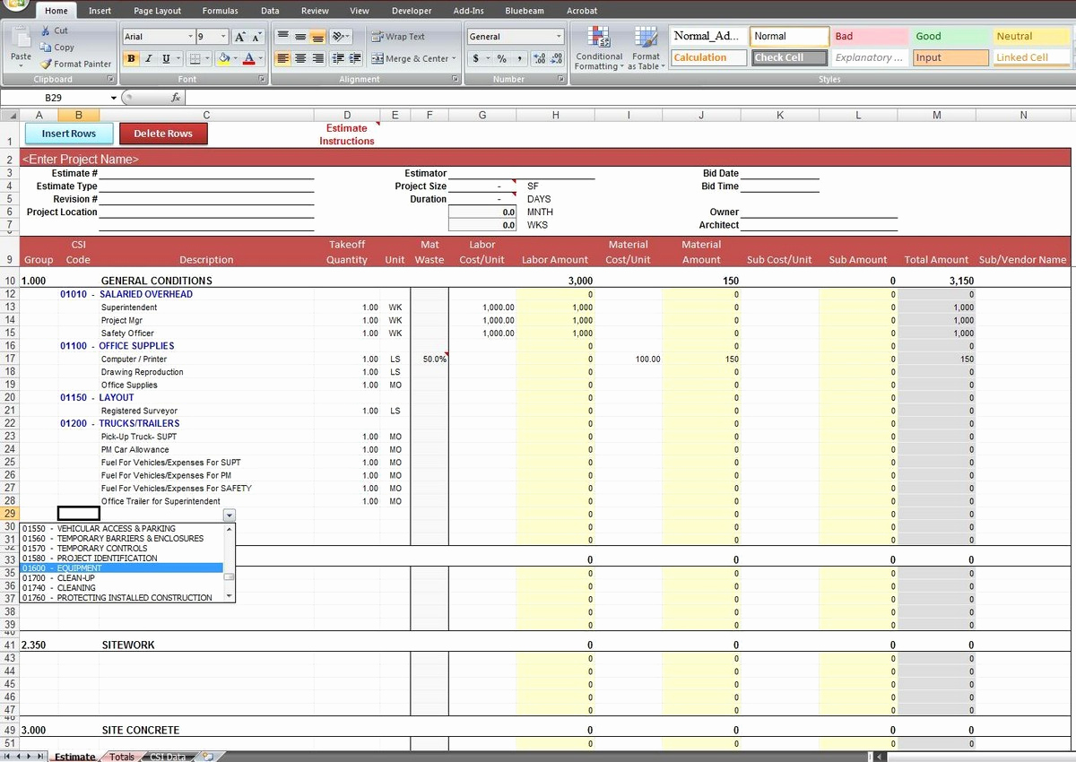 Example Of Excel Estimating Spreadsheet Templates For Excel Estimating Spreadsheet Templates Xls