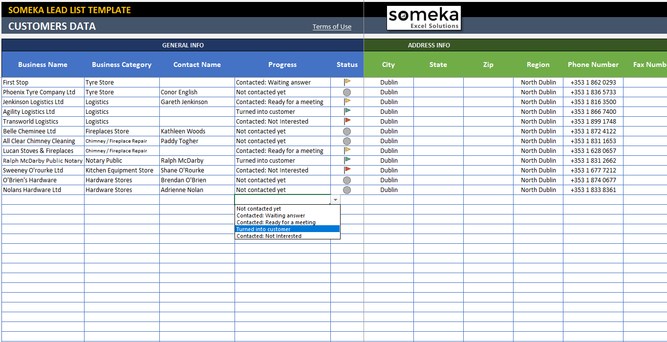 Example Of Excel List Template With Excel List Template Examples