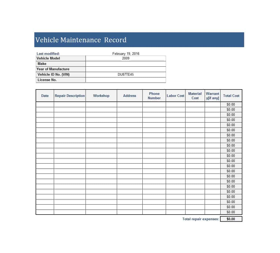Example Of Excel Spreadsheet For Vehicle Maintenance Inside Excel Spreadsheet For Vehicle Maintenance Form