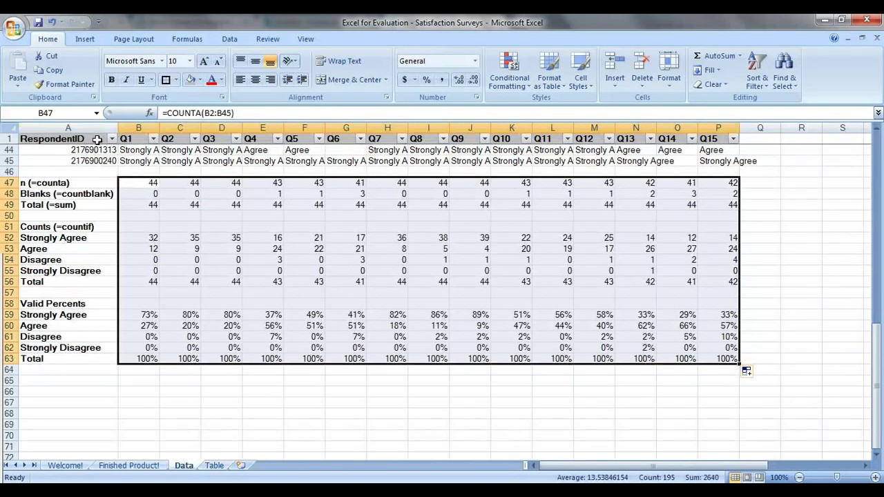 Example Of Excel Survey Data Analysis Template Inside Excel Survey Data Analysis Template For Google Sheet