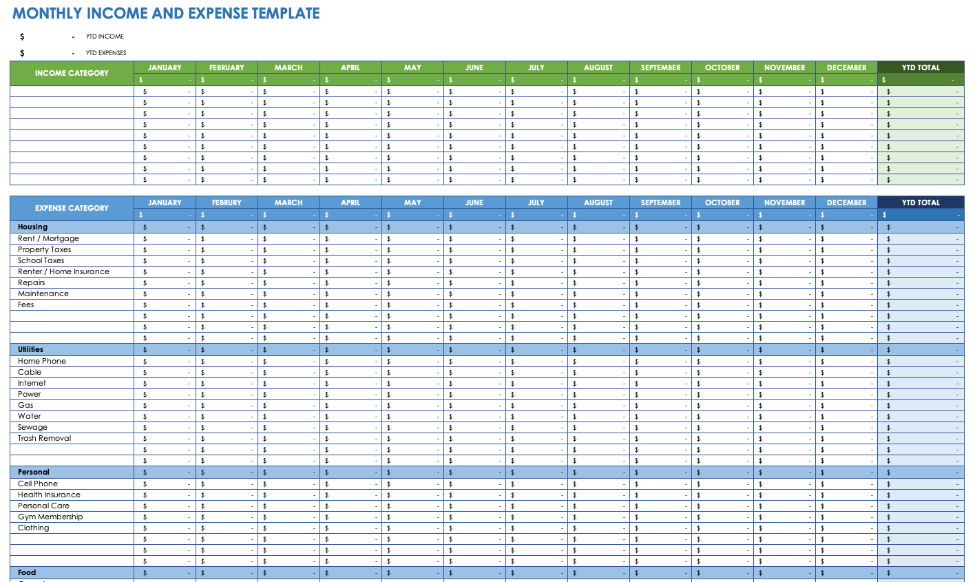 Example Of Expense Tracker Template For Excel With Expense Tracker Template For Excel Xls