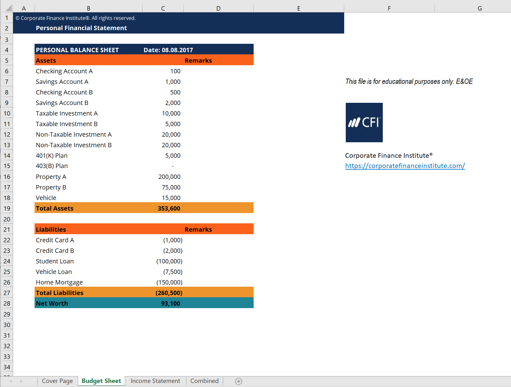 Example Of Financial Statement Template Excel In Financial Statement Template Excel Download