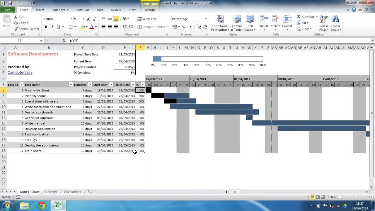 Example Of Gantt Chart Template For Excel 2010 And Gantt Chart Template For Excel 2010 In Spreadsheet