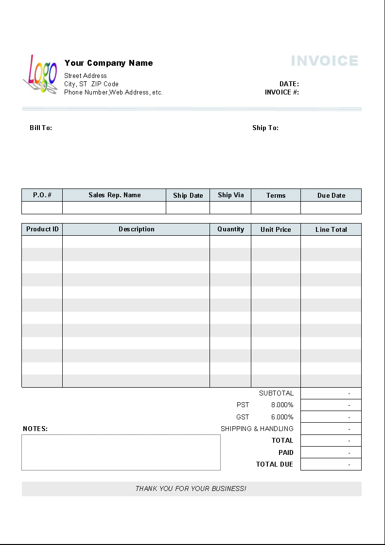 Example Of General Invoice Template Excel Inside General Invoice Template Excel Format